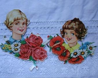 Vintage Paper.Vintage die cuts.Original Germany die cuts.Scrapbook.Crafts supply.Embellishments.Colorful.Spring.Flowers.Vintage girls.40s