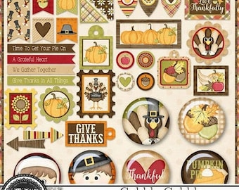 On Sale 50% Off Gobble Gobble Thanksgiving Mini Tags and Flairs for Digital Scrapbooking