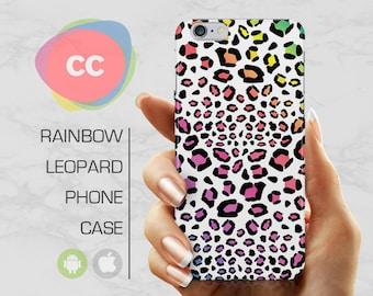 Rainbow Leopard Print Phone Case / iPhone 7 Case / iPhone 6S, 6, 5, 5S, SE, Plus Case / Samsung Galaxy S8, S7, S6 Gift Case - PC-168