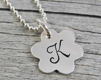 Hand Stamped Jewelry - Personalized Jewelry - Initial Necklace - Sterling Silver Necklace - Flower