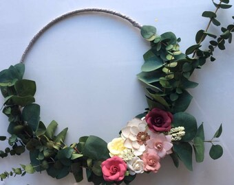 Floral wreath, modern floral wreath, modern hoop wreath, minimalist wreath, nursery decor, wall decor