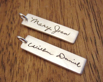 Custom Handwriting Necklace - rectangular BAR shape pendant - made with YOUR loved one's very own handwriting