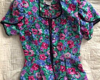 Vintage Cropped Floral Blouse | Vintage Short Sleeve Jacket | Cropped Button Down Blouse