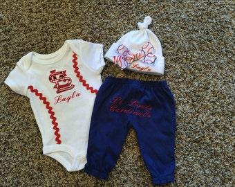 St. Louis Cardinals/ Baby Girl Outfit/ Girl Baseball Set/ Cardinals Shirt/Cardinals Pants/ Cardinals Cap/