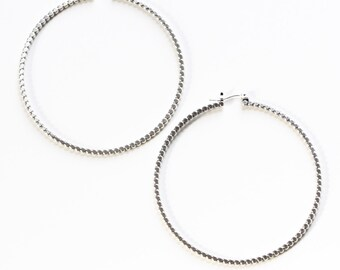"Large sterling silver hoop earrings, unique alternative to the classic hoops handmade of flattened beaded silver wire - ""Reyna Hoops"""