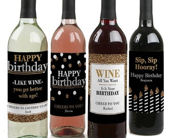 Happy Birthday Wine Bottle Labels - Adult Happy Birthday- Gold - Birthday Party Personalized Sticker Labels - Set of 4