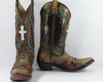 vintage cowboy boots women's 7 M B brown turquoise white cross inlays genuine leather cowgirl