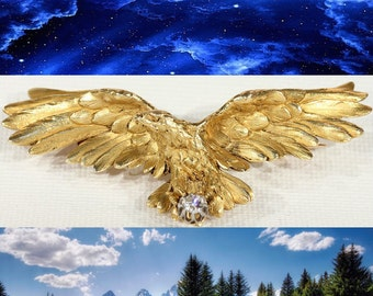 Spectacular French Art Nouveau 18K Gold Three Dimensional Eagle Diamond Brooch Pendant ! Hand Crafted By A Great Master Art Jeweler !