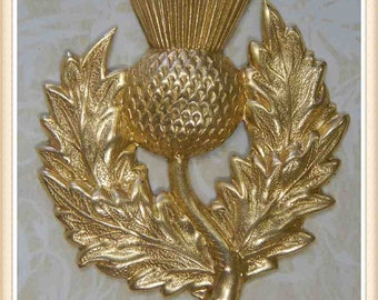 1 pc large thistle raw brass scottish flower embellishment ornament #6093