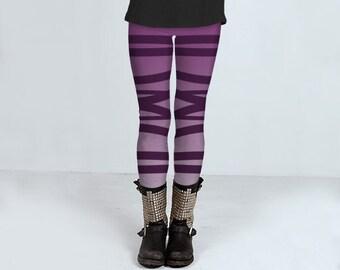 Striped leggings for women, purple tones, yoga pants, bandage leggings by Felicianation Ink