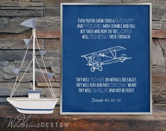 Printable Nursery Wall Art, Scripture Quote Bible Verse, Isaiah 40:30, hope soar wings eagles, vintage airplane blueprints; INSTANT DOWNLOAD