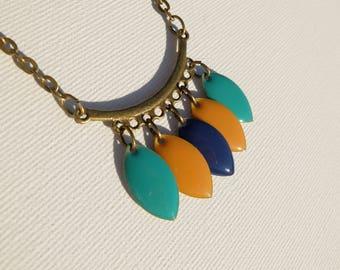 Dark turquoise, mustard and blue bib necklace