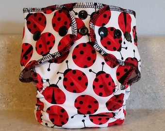 Fitted Preemie Newborn Cloth Diaper- 4 to 9 pounds- Lady Bugs- 16009