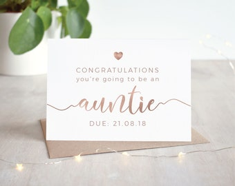 Pregnancy Announcement Card - Auntie Card - Rose Gold or Silver - Congratulations Aunt - 12 Week Scan - Pregnancy Keepsake - Sister in Law