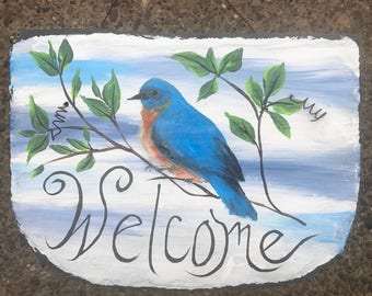 """Eastern BLUEBIRD Blue Bird Hand Painted WELCOME Roofing 8"""" x 10"""" Slate On Tree Black Background Plaque"""