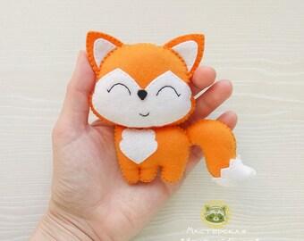 Felt toy Little Fox Felt fox Handmande Baby shower Red fox