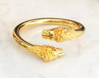 Vintage 60s 70s Victorian Revival Lion Head Cuff Bangle Bracelet Vintage Jewelry
