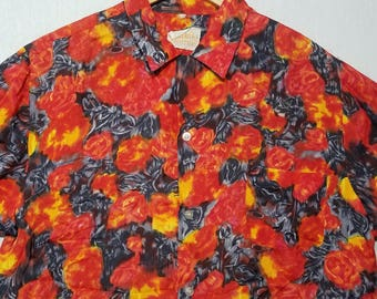 1960s Hawaiian Shirt / M - L / Lava Red / Volcano / Rayon / Aloha Shirt / Tiki Shirt / Novelty / 1960s Mens Fashion / 1950s Shirt / 60s