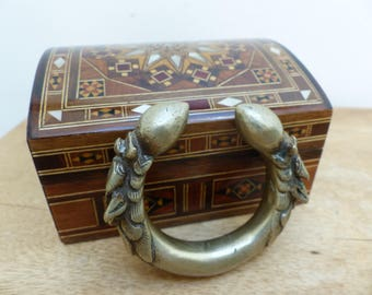 Antique Silver Nepali Child's Traditional Kalli Anklet/Bracelet in Marquetry Jewelry Box