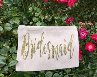 Bridesmaid Makeup Bag - Wedding Makeup Pouch - Bridesmaid Gift - Bridesmaid Cosmetic Bag - Personalized Bridesmaid Bag - Bridal Party Bag