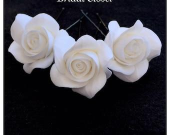 Bridal Hair Pins, SET Of 3 Hair Pins With Roses, Wedding Hair Pins, Bridal Hair Accessory, Wedding Accessory, Bridal Hairpiece, Wedding Hair