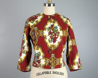 Vintage 1960s Jacket 60s Tapestry Print Cotton Cropped Lightweight Blazer by Bonwit Teller Size M