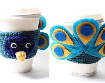 Peacock Coffee Cozy, Crochet Animal Coffee Sleeve, Can Holder, Travel Drink Cup Holder, Java Jacket