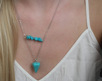 Handmade Turquoise stone and Triangle pendant necklace by Charmed Ivy