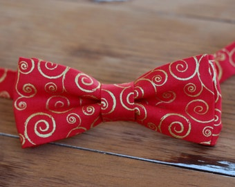 Mens Christmas Bow Tie - mens red gold swirl Cotton bowtie - bow tie for men, teen boys - mens holiday bow tie - gift for him