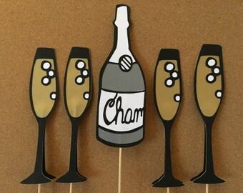 5 Bridal shower photo props, Wedding photo prop, bridal shower photo booth prop, Champagne photo props