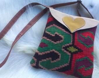 kilim leather bag