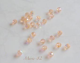 4 round 8 mm - Light Peach AB Swarovski beads