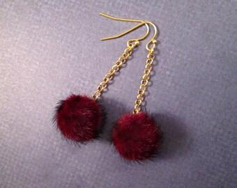 Faux Fur Earrings, Bordeaux Wine Pom Pom Earrings, Red and Gold Dangle Earrings, FREE Shipping U.S.