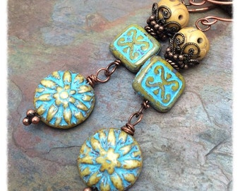 Dahlia Tapestry Earrings, Czech Glass and Copper, Marta Weaver Jewelry, Free Shipping, Christmas, Birthday, Anniversary Gift