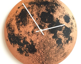 Moon Clock, Full Moon Art, Wall Clock, Copper Moon, Handmade Clock, Wall Decor, Nursery decor, Kids Room Space Decor, wedding anniversary