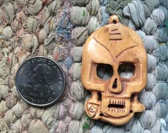 Large 50mm Handcarved Bone Skull with Rose Pendant