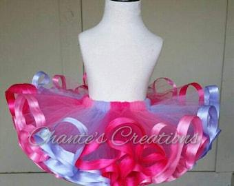 Hot pink, shocking pink, and lavender ribbon trimmed tutu ONLY