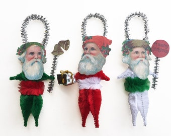 Old World Christmas Ornaments - Santa Chenille Ornaments - Holiday Gift Under 25