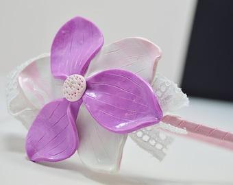 Purple and White Flower Girl Headband, Purple and White Flower Crown,Purple Flower Girl Headband, Boho Flower Girl Crown,Purple Flower Crown