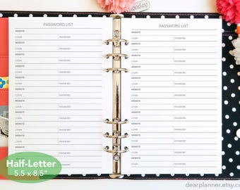 Printed Password List insert - Password Keeper refill - Website login insert - Half letter size to fit A5 planners - 28H