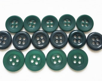 shades of small pine green recycled buttons--three styles--mixed lot of 15