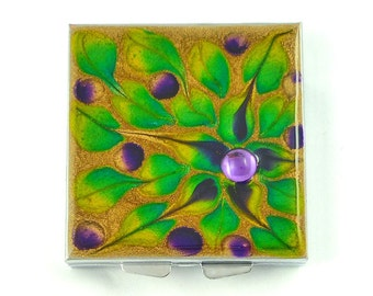 Square Pill Box with 4 Compartments Hand Painted Enamel Peacock Inspired Embellished with Purple Jewel Custom Colors Personalized Options