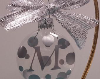 Vinyl Monogrammed Initals Clear Glass Disk Ornament (66 mm)