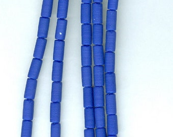 Blue tube beads. 4mm x 8mm Royal Blue Opaque Sea Glass Tube Beads Seaglass Bead Tubes