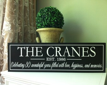 Family Name Sign, 30th Anniversary Gift for Parents, Wooden Sign, Personalized Gifts, 30th Anniversary Decorations, Custom Wooden Sign
