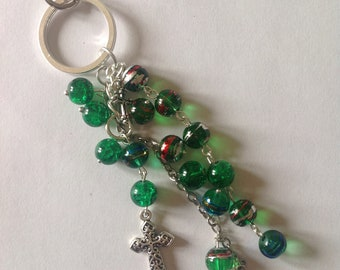 Green beaded key ring key chain key fob bag charm handbag charm