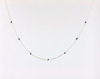 Faceted Black Diamond Bead Station Necklace in Solid 14k White Gold