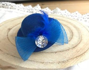 FASCINATOR hair clip Blue Hat