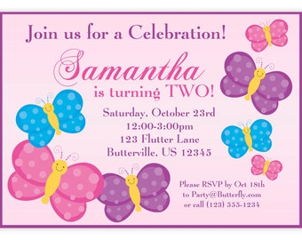 Butterfly Invitation - Light Pink and Purple Butterflies Personalized Birthday Party Invite - a Digital Printable File