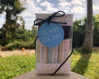 Island Escape Perfume Gift Set, Coconut Water, Ocean Breeze, Bergamot, Fresh, Beachy Fragrance, Gift Ideas, Gifts for her, Eau de Parfum